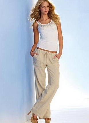 Базовые, бежевые, широкие, лёгкие, брюки- штаны с поясом- шнурком/лен/h&m