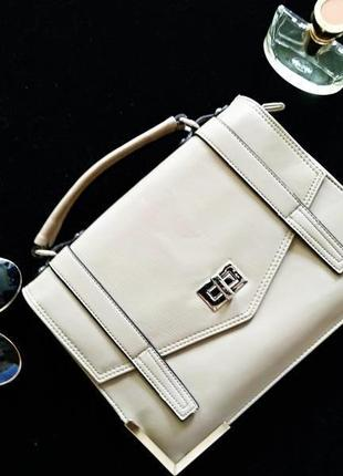 Стильный портфель - сумка женский,бежевый