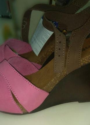 Босоножки сандали на платформе танкетке кожаные