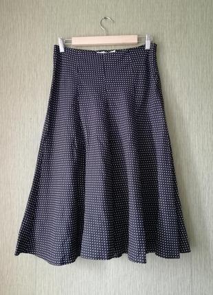🌿 льняная юбка- трапеция в горошек 🌿чёрная юбка миди полька-дот в стиле ретро 🌹