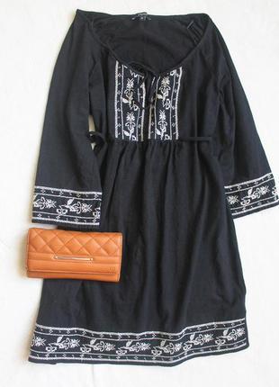 Супер вышиванка блуза туника черная от papaya*. размер l