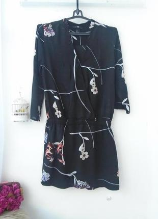 Оригинальное платье на запах с заниженой талией р.34/6 h&m