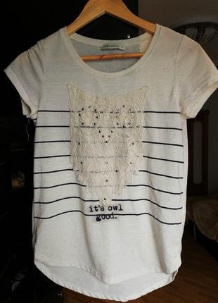 Торг бежевая футболка с принтом