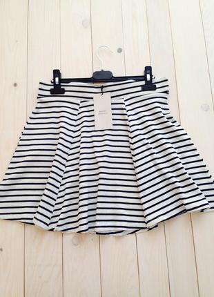 Легкая коттоновая расклешенная юбка в полоску высокая талия bershka