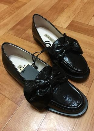Туфли лоферы оксфорды zara натуральная кожа 36 размер
