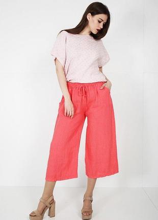Укороченные льняные брюки с карманами,s-l