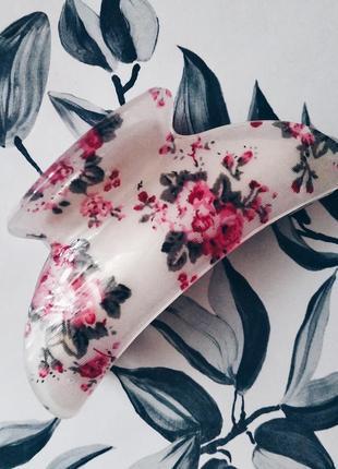 Крабик для волос в цветочек заколка