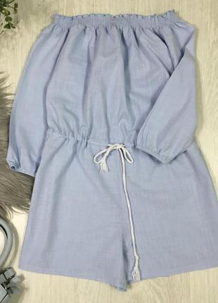 Небесно голубой ромпер комбинезон с открытыми плечами2 фото
