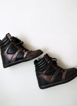 Сникеры натуральная кожа черные сникерсы кроссовки на платформе размер 37 river island