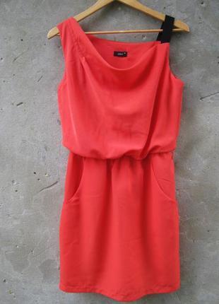 Кораловое платье с карманами/платье миди