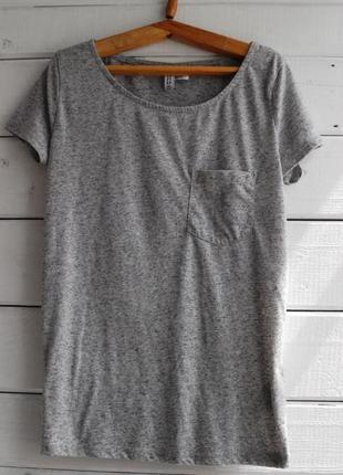 Серая футболка с кармашком h&m