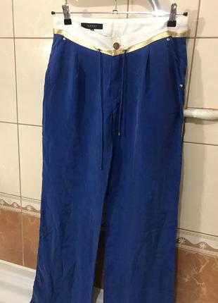 Брюки шёлковые оригинальные синие италия gucci шёлк 100%