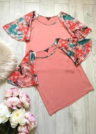 Стильная нарядная  футболка с оригинальными цветочными рукавами из атласа