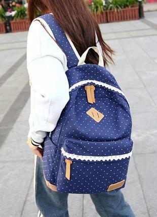 Рюкзак темно-синий в горошек крапинку с кружевом