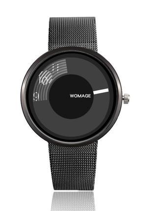 Часы униcекс blackest black, чёрные металлические часы, годинник чорний