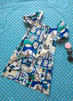 Платье с геометрическим принтом и рукавами-фонариками