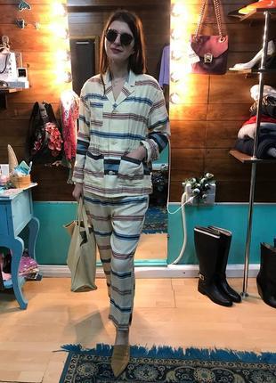 Брючный пижамный костюм в полоску от h&m studio шелк+лен