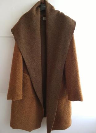 Стильное шерстяное пальто кардиган с карманами