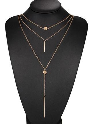 Тройная цепочка ожерелье с подвесками2 фото