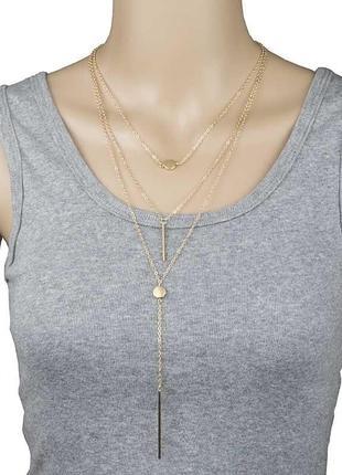 Тройная цепочка ожерелье с подвесками3 фото
