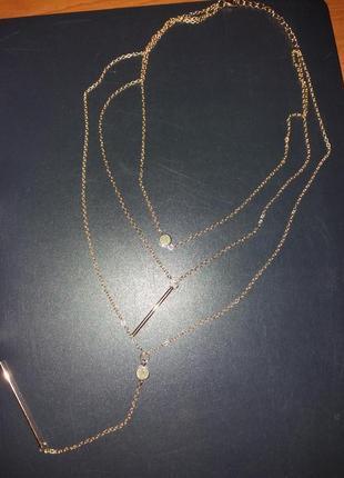 Тройная цепочка ожерелье с подвесками5 фото