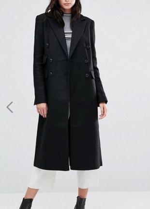 Шерстяное длинное демисезонное пальто