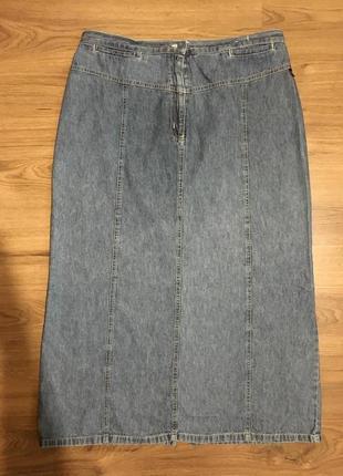 Легкая джинсовая юбка с разрезом!