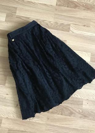 Черная гипюровая фатиновая ажурная юбка пачка