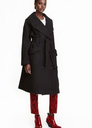 Шерстяное пальто оверсайз h&m, m