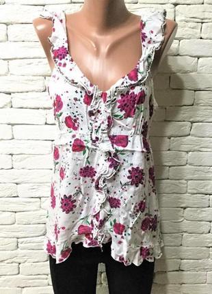 Лёгкая блуза с рюшами,цветочный принт