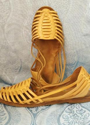 Босоножки без каблука бежевые кожаные гладиаторы римлянки греческие эспадрильи