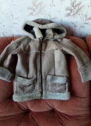 Дубленка куртка с капюшоном натуральная легкая от 0 до 5 лет