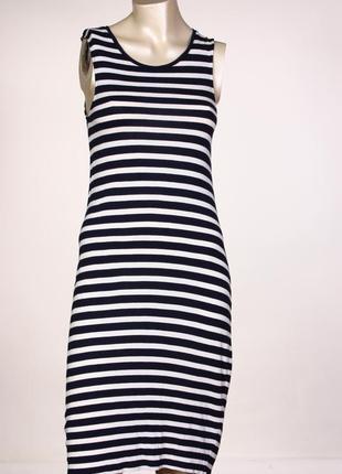 Летнее платье-сарафан миди  в полоску