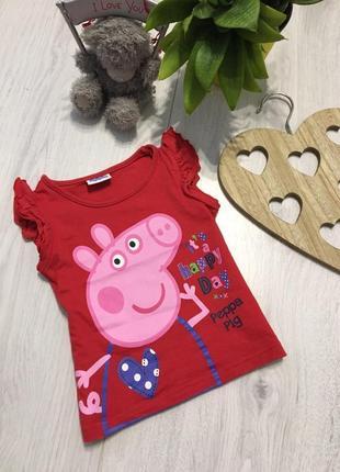 Красная, яркая футболка для девочки 1,5-2 года