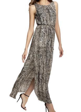 Платье макси змеиный принт