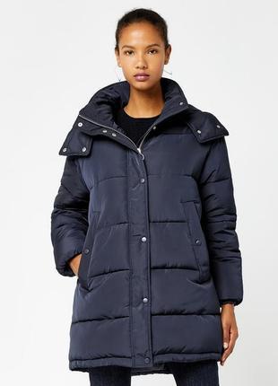 Новый пуховик капюшоном warehouse синий зефирка оверсайз зимний синтепоне пальто куртка