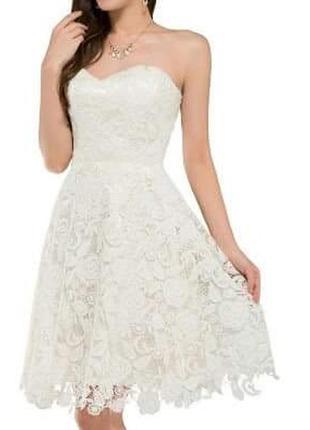 Свадебное вечернее коктейльное ажурное платье grace karin