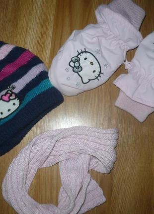 Набор шапка шарф рукавицы hello kitty 98-104р.