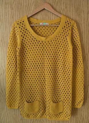 Джемпер в дырочку пуловер желтый длинным рукавом вязаный осенний весенний зимний