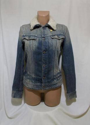 Джинсовая куртка с воротом из искусственной овчины *g-star* 'slim tailor teddy jkt' 46-48р