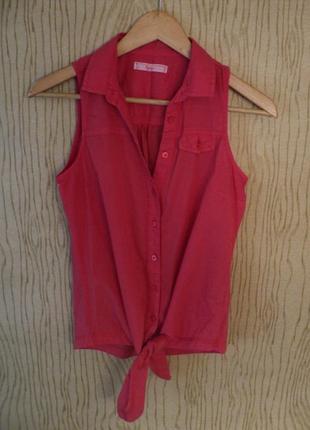 Топ малиновый красный розовый завязках без воротником кроп хлопковый хлопковая рубашка