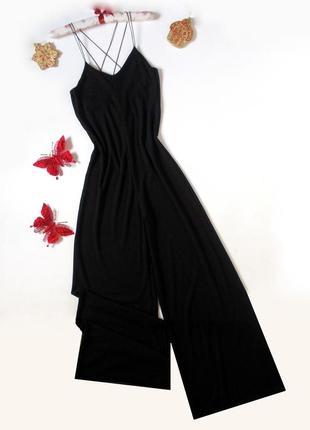 Шикарный черный ромпер брюками в рубчик комбез комбинезон