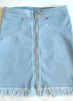 Джинсовая юбка трапеция / с бахромой / на молнии на 8-10 лет (есть все замеры)