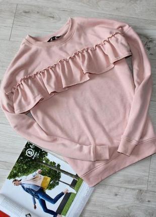 Красивый свитер свитшот джемпер кофта с воланами розовая цвет пудры 14 хл