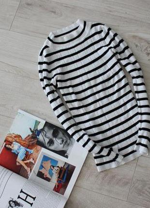 Кофта свитерок гольфик в рубчик черно белый в полоску размер хс 6