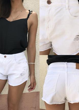 Белые рваные шорты с завышенной талией от zara