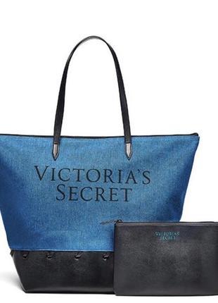Пляжная сумка victoria's secret denim + косметичка