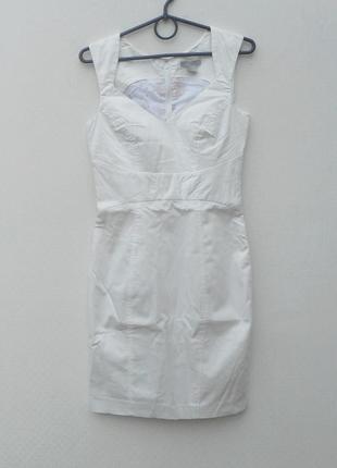 Белое классическое офисное облегающее платье из хлопка на молнии