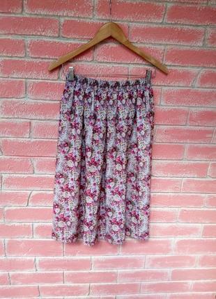 Стильная юбка миди солнце клеш в цветочный принт р.s m