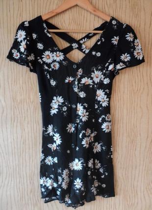 Платье комбинезон ромпер цветочный принт цветы цветочек ромашки черный открытой спиной